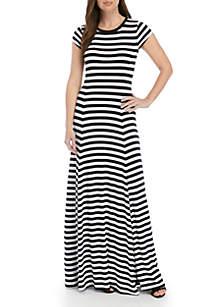 MICHAEL Michael Kors Short Sleeve Stripe Maxi Dress