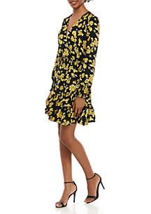 MICHAEL Michael Kors Long Sleeve Floral Ruffle Dress