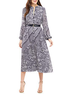 MICHAEL Michael Kors Ornate Paisley Long Sleeve Maxi Dress