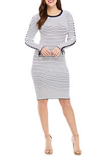 MICHAEL Michael Kors Side Lace-Up Stripe Sweater Dress