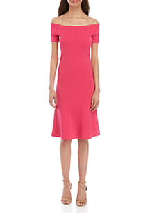 MICHAEL Michael Kors Off the Shoulder Fit and Flare Sweater Dress