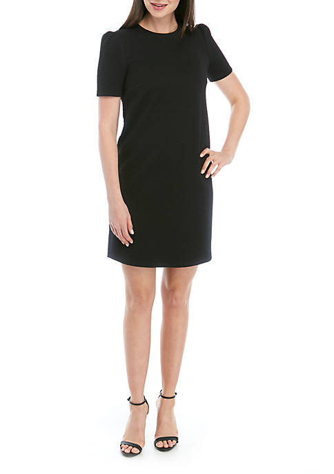 Reptile Jacquard Puff Sleeve Dress