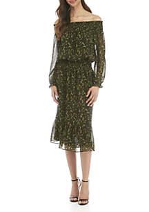 MICHAEL Michael Kors Off The Shoulder Camo Butterfly Midi Dress