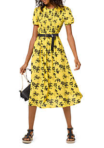 MICHAEL Michael Kors Belted Button Short Sleeve Dress