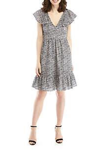 MICHAEL Michael Kors Eyelet Dress with Ruffled Sleeves