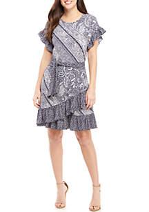 MICHAEL Michael Kors Mixed Paisley Wrap Ruffle Dress