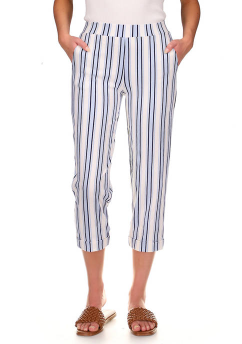 MICHAEL Michael Kors Womens Striped Rolled Cuff Pants