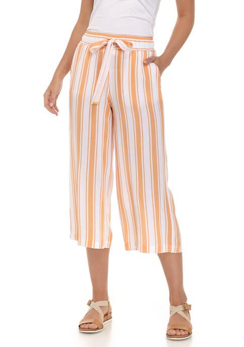MICHAEL Michael Kors Womens Striped Tie Waist Culotte