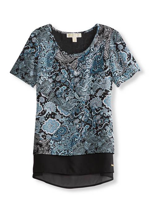 MICHAEL Michael Kors Womens Arabesque Paisley Short Sleeve