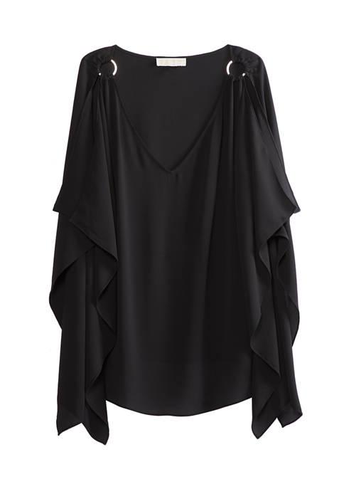 MICHAEL Michael Kors Womens Ring Shoulder Scarf Poncho