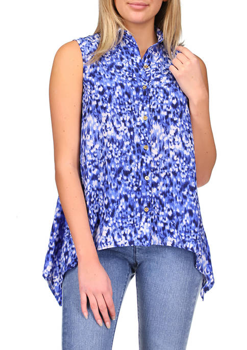 MICHAEL Michael Kors Womens Tonal Ikat Handkerchief Hem