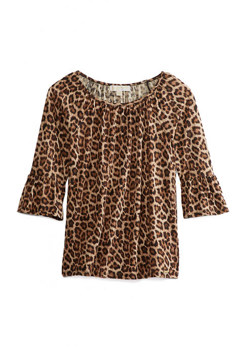 Womens Leopard Flare Sleeve Top