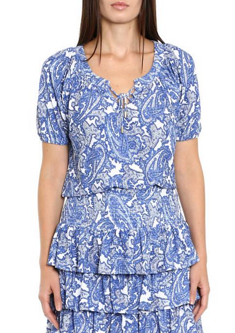 MICHAEL Michael Kors Womens Short Sleeve Paisley Seersucker