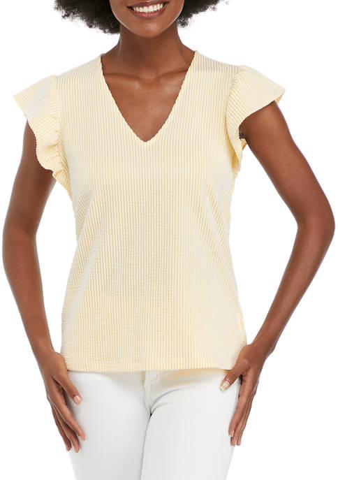 MICHAEL Michael Kors Womens Flutter Sleeve Seersucker Top