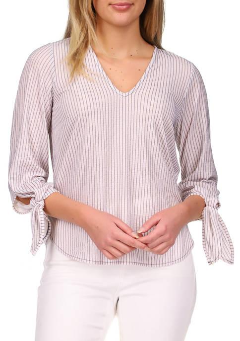 MICHAEL Michael Kors Womens Striped Jacquard Tie Sleeve