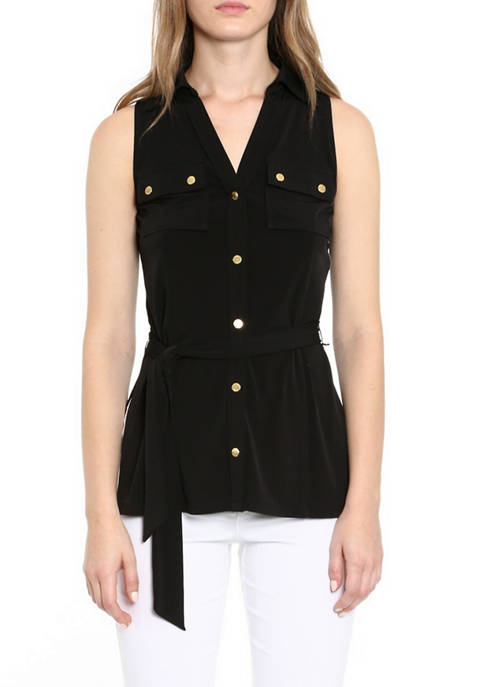 MICHAEL Michael Kors Womens Button Front Tunic Top