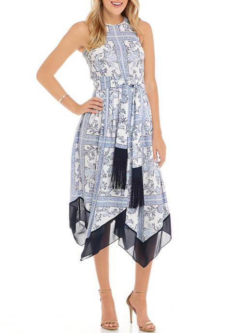 MICHAEL Michael Kors Womens Paisley Handkerchief Hem Dress
