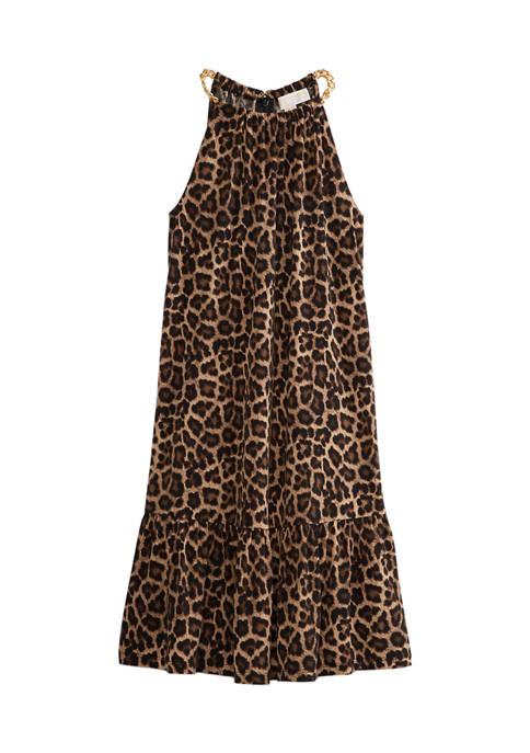 MICHAEL Michael Kors Womens Leopard Halter Dress