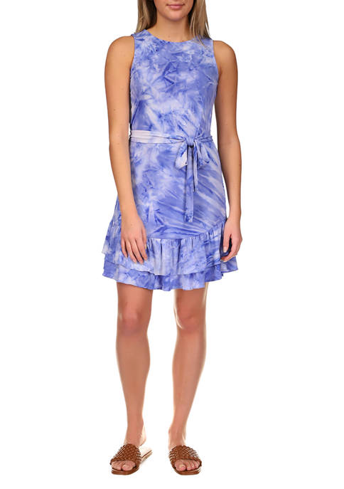 MICHAEL Michael Kors Womens Tie Dye Ruffle Dress