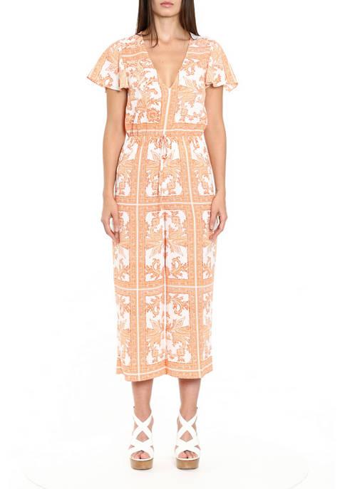 MICHAEL Michael Kors Womens Scarf Print Flutter Sleeve