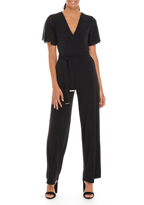 MICHAEL Michael Kors Womens Tie Waist Wrap Jumpsuit