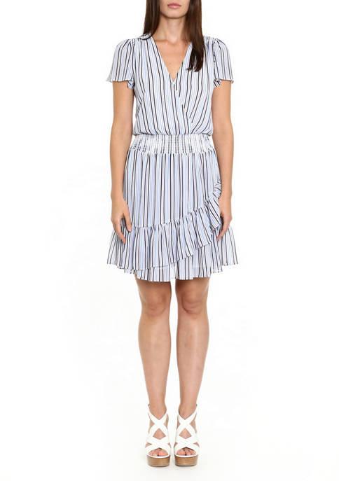 MICHAEL Michael Kors Womens Striped Short Sleeve Wrap