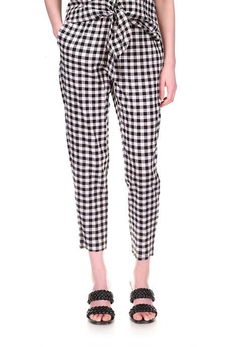 MICHAEL Michael Kors Womens Gingham Pull-On Pants
