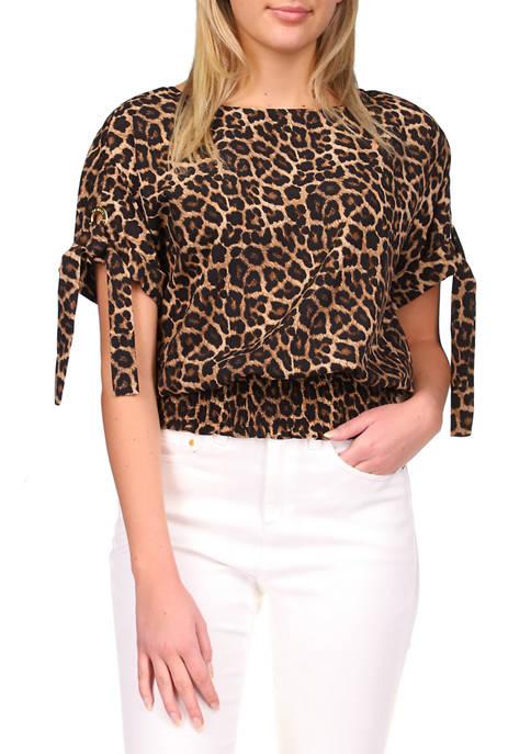 MICHAEL Michael Kors Womens Leopard Print Smock Hem