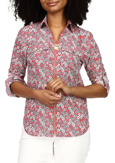 MICHAEL Michael Kors Womens Rolled Sleeve Floral Dog