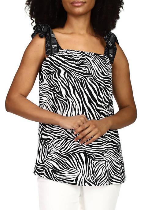 MICHAEL Michael Kors Womens Zebra Flared Knit Top