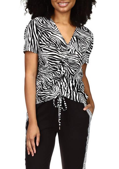 MICHAEL Michael Kors Womens Short Sleeve Zebra Ruched