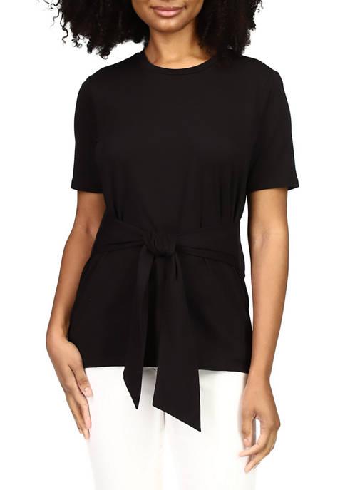 MICHAEL Michael Kors Womens Short Sleeve Tie Front