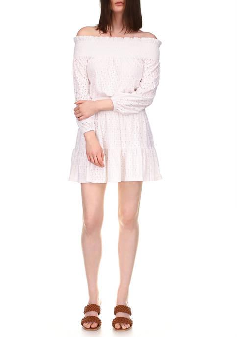 MICHAEL Michael Kors Womens Off-the-Shoulder Smocked Eyelet Knit