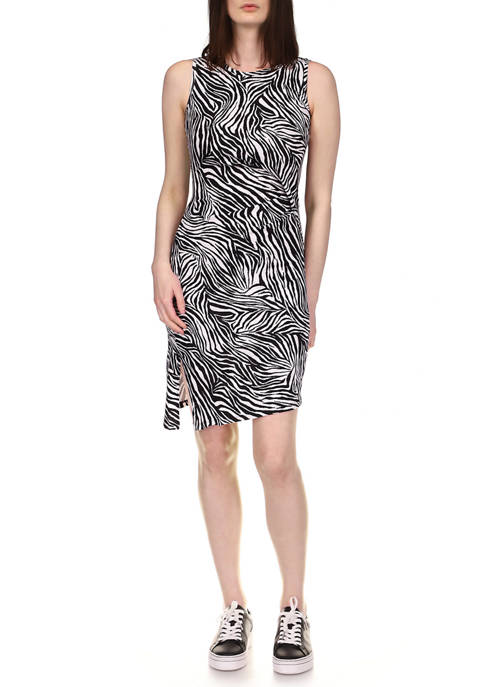 MICHAEL Michael Kors Womens Zebra Draped Tank Dress