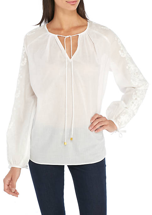 MICHAEL Michael Kors Embroidered Long Sleeve Top