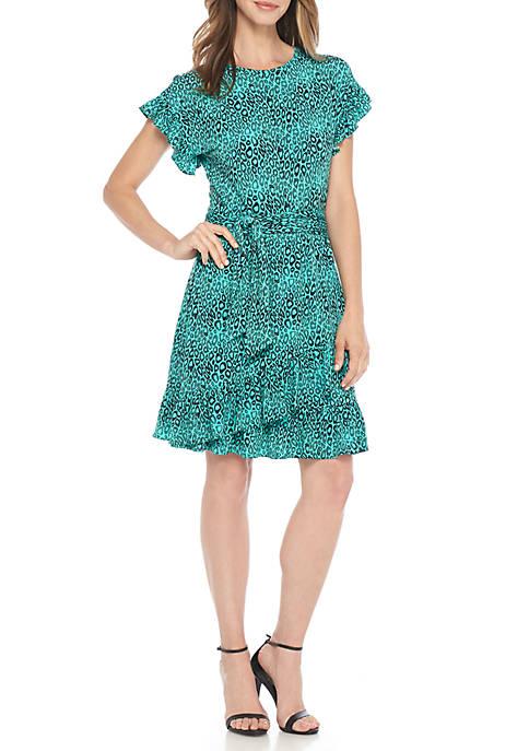 Wavy Leopard Print Ruffle Wrap Dress