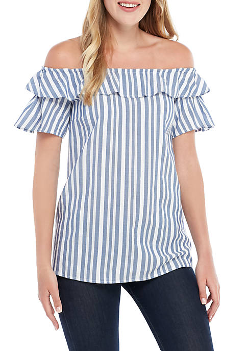Stripe Off The Shoulder Ruffle Blouse