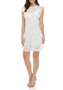 MICHAEL Michael Kors Lace A Line Dress with Flutter Sleeves