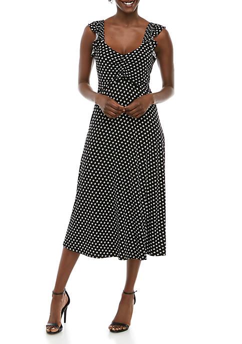 Dot Ruffle Midi Dress
