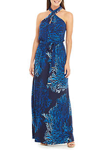 MICHAEL Michael Kors Twist Halter Reef Maxi Dress