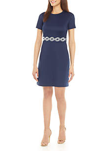 MICHAEL Michael Kors Scuba Fit and Flare Dress with Studded Waist