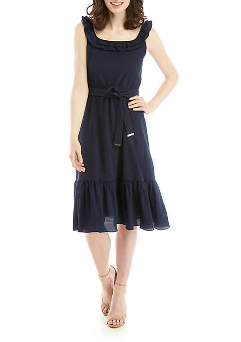 MICHAEL Michael Kors Gauze Midi Dress with Ruffle