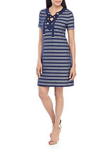 MICHAEL Michael Kors Grommet Lace Up Stripe Dress