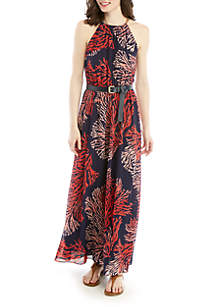 MICHAEL Michael Kors Coral Maxi Dress with Chain Neck