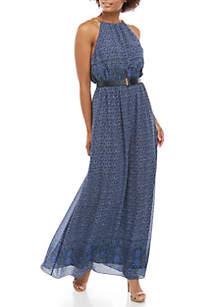 MICHAEL Michael Kors Tile Print Chain Strap Maxi Dress