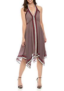 MICHAEL Michael Kors Handkerchief Hem Border Halter Dress