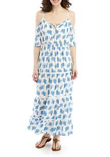 MICHAEL Michael Kors Gauze Cold Shoulder Reef Printed Maxi Dress