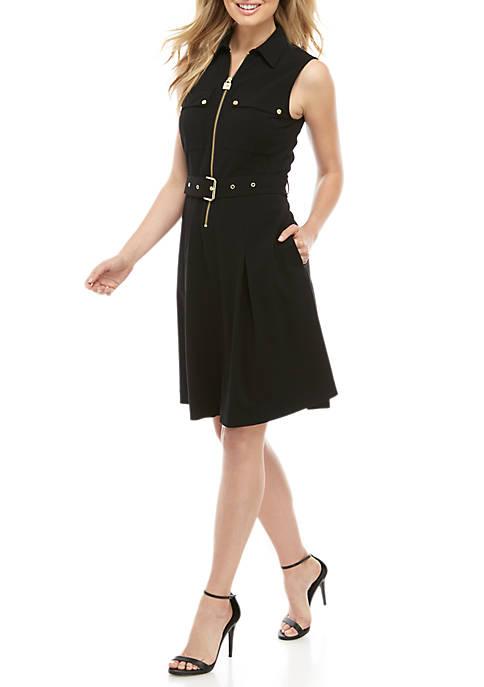 MICHAEL Michael Kors Sleeveless Belted Dog Tag Dress