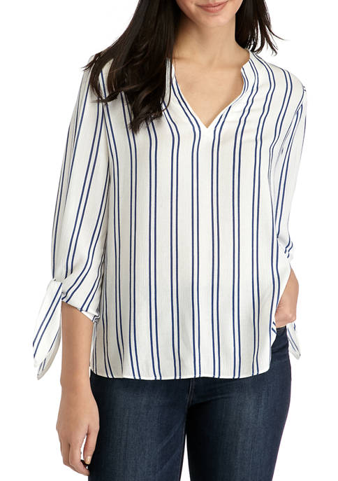 Petite Striped Tie Sleeve Split Neck Blouse