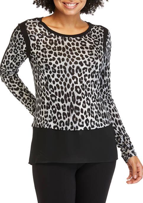 MICHAEL Michael Kors Petite Cheetah Mixed Media Knit